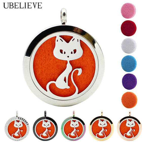 Cat Breed Stainless Steel Magnet Essential Oil Aromatherapy Diffuser Locket Necklace