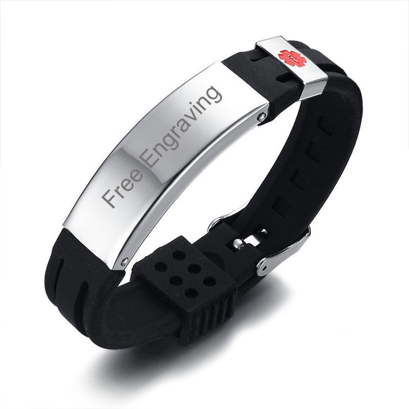 Medical Alert ID Black Silicone Bracelet with Stainless Steel Tag Adjustable Wristband Plus Free Engraving