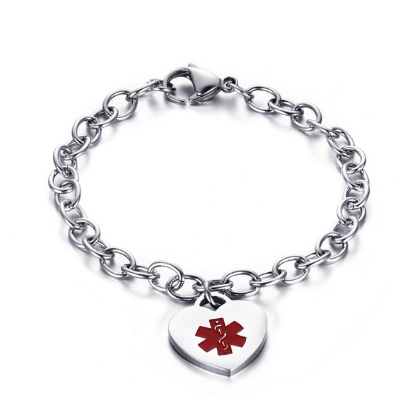 FREE ENGRAVED 7.5 INCH STAINLESS STEEL MEDICAL ID BRACELETS WOMEN