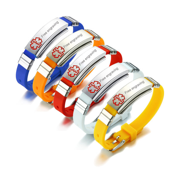 Free Engraving Multi color Silicone Bracelet Medical Alert ID Tag.