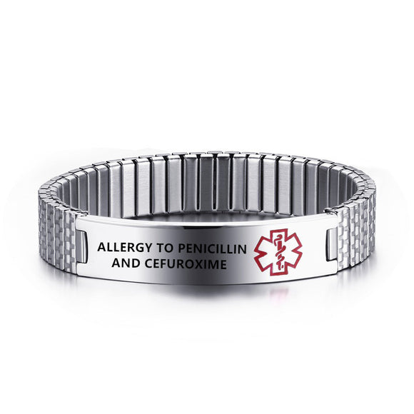 ENGRAVED STAINLESS STEEL MEDICAL ALERT BRACELETS