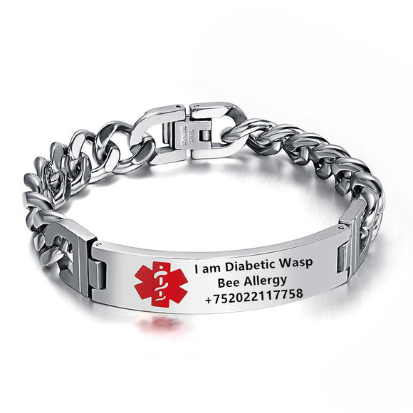 Engraved, Stainless Steel Medical Bracelet UNISEX