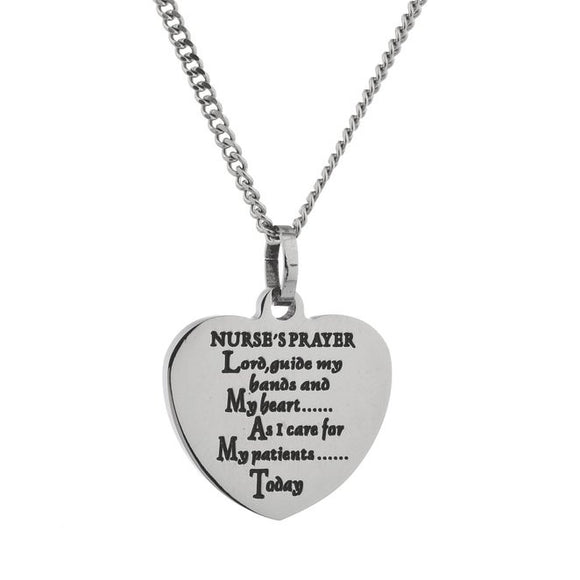 Nurse's Prayer Heart Shaped Engraved Pendant Necklace
