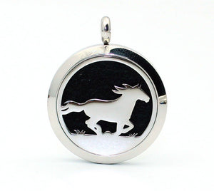 30mm Horse Logo Stainless Steel Aromatherapy Essential Oil  Diffuser Pendant necklace