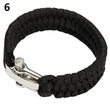 MultiColor Stainless Steel Shackle Braid Paracord Survival Bracelet