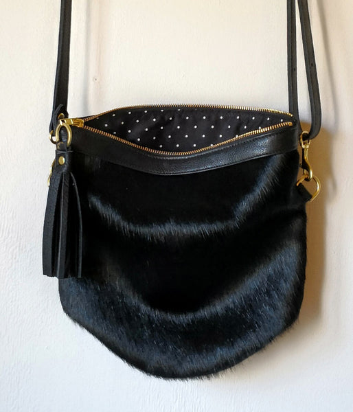 Mini Slouch - Fur Front Black Leather