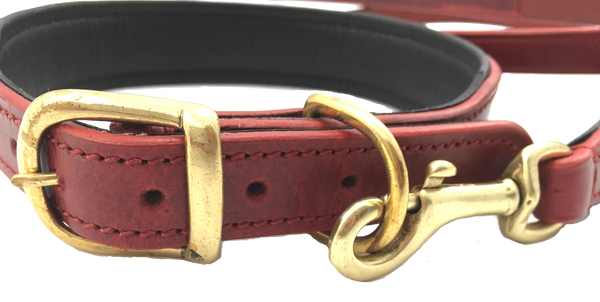The Vintage Collar & Leash Collection (Claret Red) - DoggyHQ