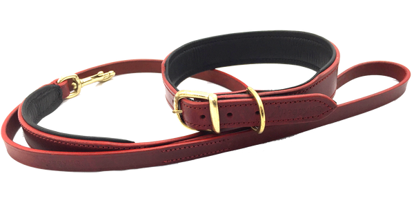 The Vintage Collar & Leash Collection (Claret Red)