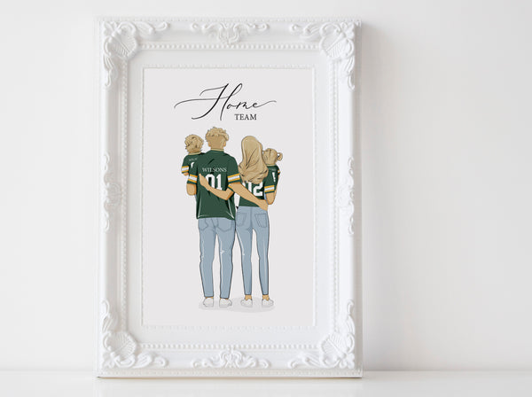 Personalized family illustration | Wall Art Portrait | Football jersey