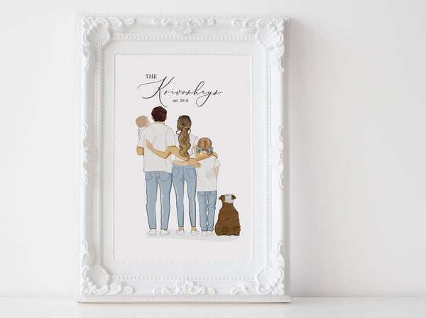 Personalized family illustration | Wall Art Portrait | full body