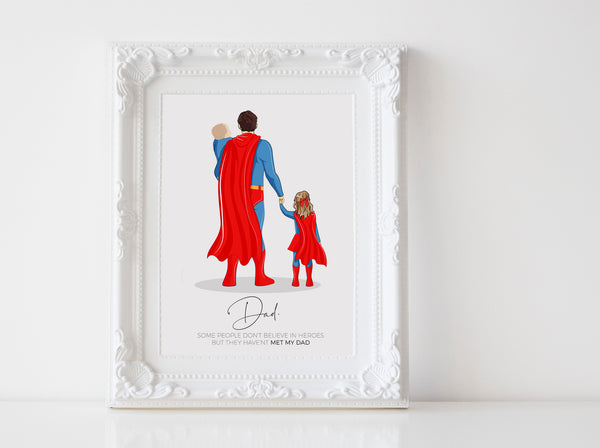 Personalized Super Hero family illustration | Wall Art Portrait | Super Dad