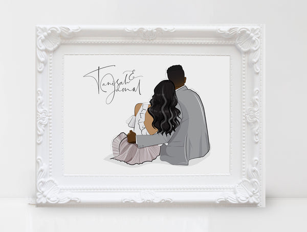 Personalized Couple illustration: Sitting white background