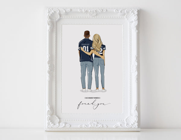Personalized Couple illustration: Sport themed