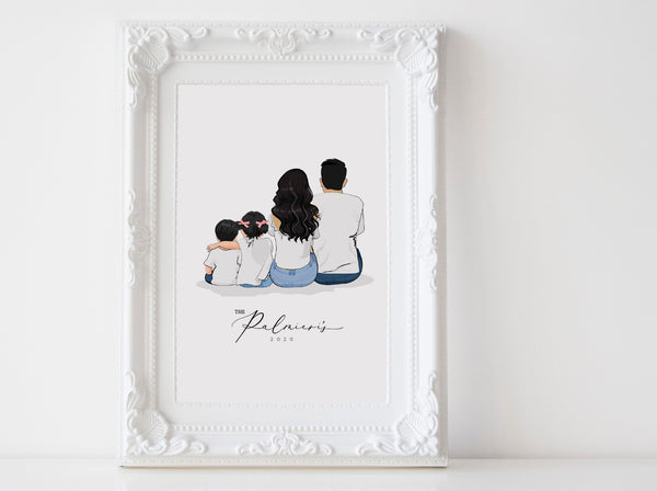 Personalized sitting family illustration | Wall Art Portrait | Print