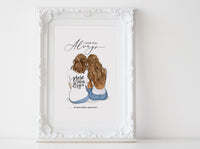Personalized Mothers day illustration | Wall Art Portrait