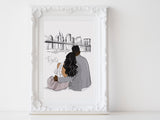 Personalized Couple illustration: Sitting with destination