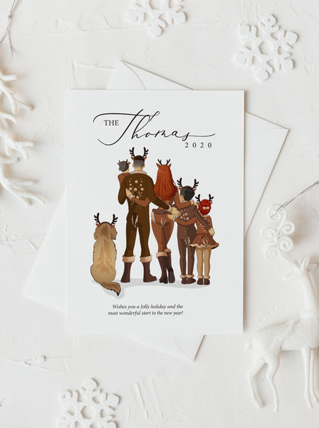 Personalized Christmas Reindeer family illustration