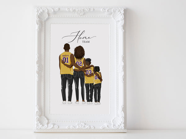 Personalized family illustration | Wall Art Portrait | Basketball