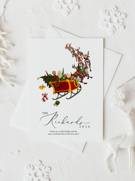 Personalized family riding sleigh illustration