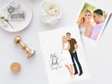 Invitation: Couple baby announcement colour illustration
