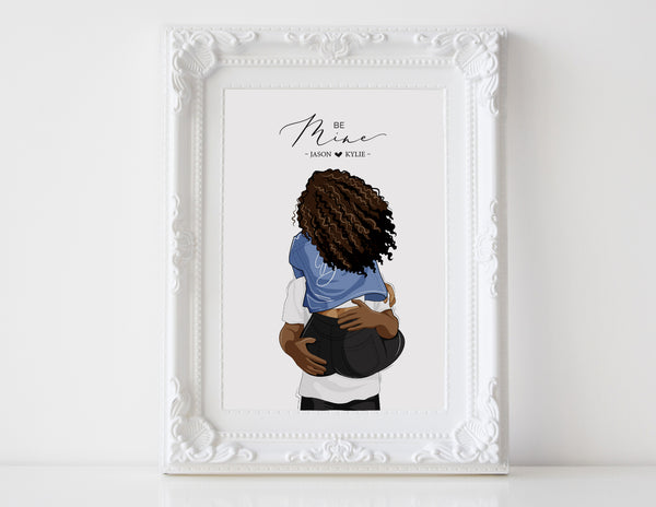 Personalized Couple illustration: His babe