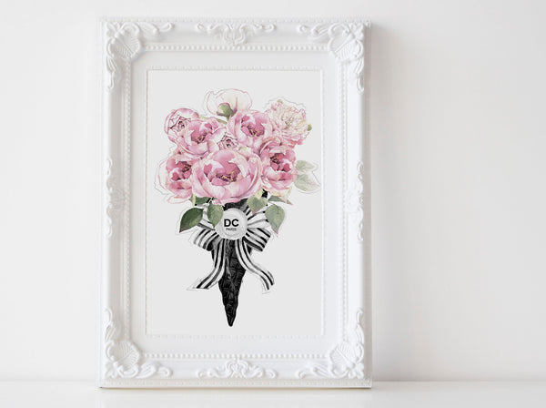 Fashion ice cream wall art poster, black and white wall art poster with pink peonies