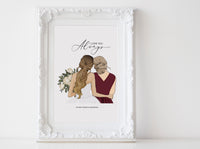 Personalized Mothers day illustration | Wall Art Portrait |  Custom Wedding dresses | Half body