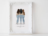 Personalized best friend illustration | Wall Art Portrait | Full body