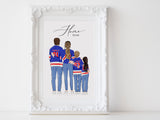 Personalized family illustration | Wall Art Portrait | Ice Hockey