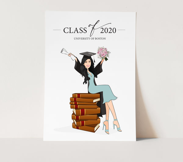 Gift: Graduation custom portrait female with books