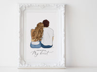 Personalized Couple illustration: Sitting white background Casual