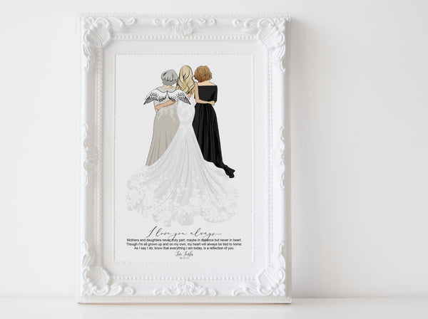 Personalized Mothers day illustration | Custom Wedding dresses | full body