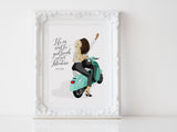 Personalized best friend illustration | Wall Art Portrait | Vespa