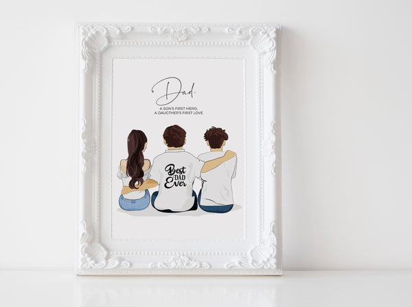 Personalized Fathers day illustration | Wall Art Portrait | Son and daughter