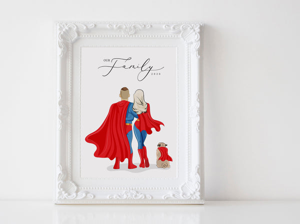 Personalized Superhero family illustration | Wall Art Portrait