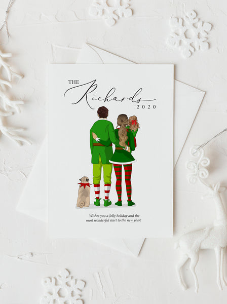 Personalized Christmas Elves family illustration