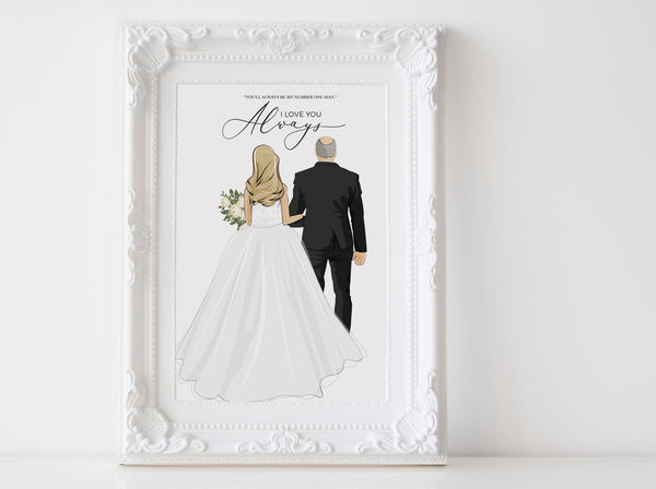 Personalized Father and daughter wedding illustration