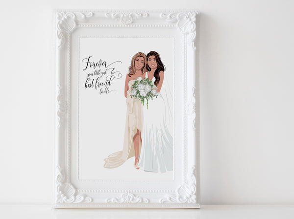 Personalized Mother and daughter wedding illustration: full body white background