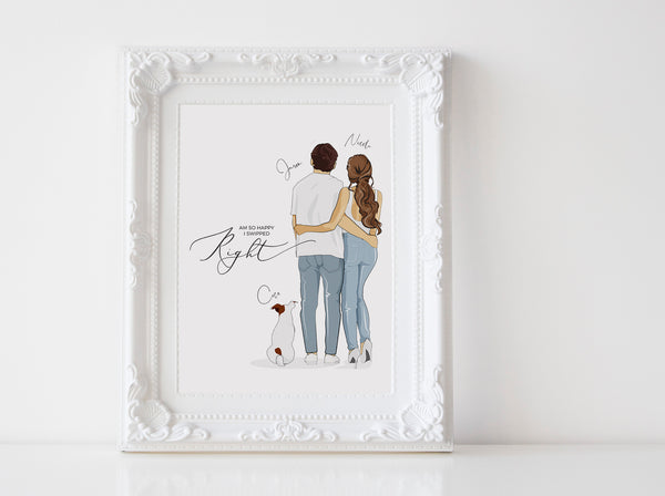 Personalized Couple illustration: Standing white background