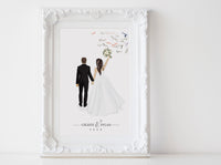Wedding illustration back view (select pose from chart)