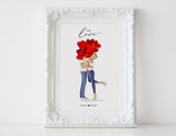 Personalized Couple illustration: Standing white background love heart balloons