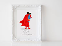 Personalized Super Dad illustration | Wall Art Portrait | Super Dad