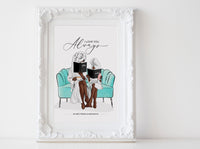 Fashion Wall art: Mother and Daughter illustration reading Printable