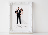 Personalized Family illustration: full body white background