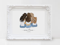 Personalized best friend illustration | Wall Art Portrait