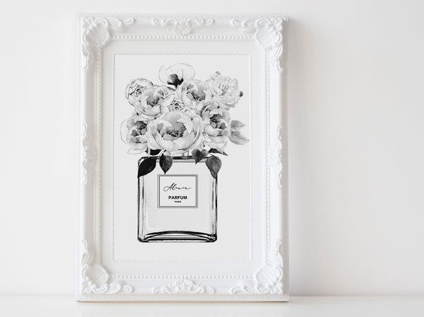 Perfume bottle Fashion wall art poster with Peonies, Black and white sketch