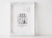 Wedding venue illustration Black and white sketch