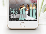 Snapchat Geofilter: Custom portrait illustration of the bridal party