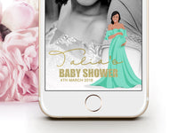 Snapchat Geofilter: Baby shower portrait illustration of the Mother to be
