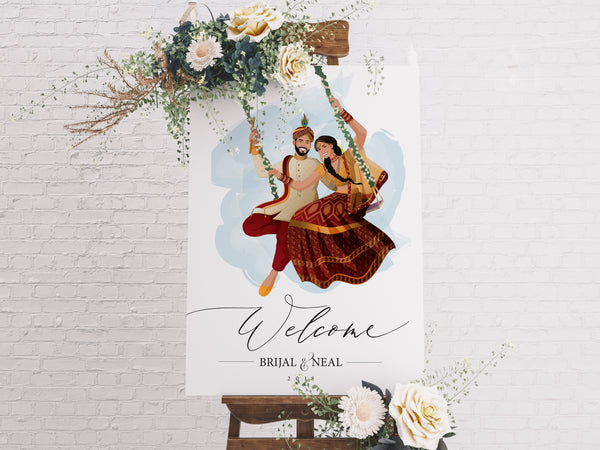 Welcome signage: Couple illustration |  Radha and Krishna